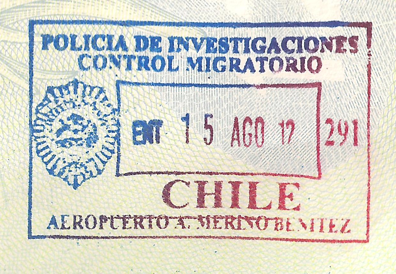 Визовый штамп страны Чили