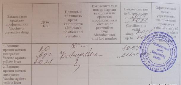 Справка о прививке против желтой лихорадки
