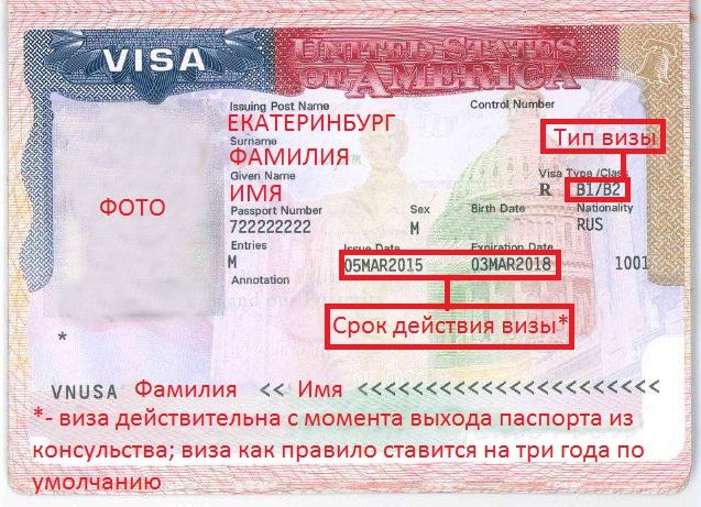 Что указывается на визе США