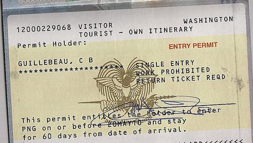 Одобренная виза в Папуа-Новую Гвинею