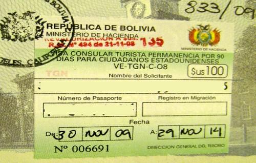 Открытая виза в Боливию