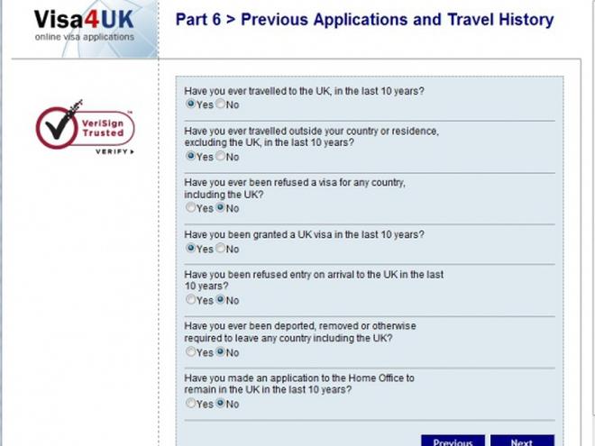 Заполнение анкеты для визы в Британию