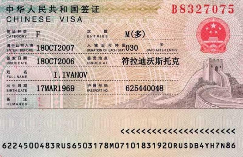 Какие бывают визы в Китай