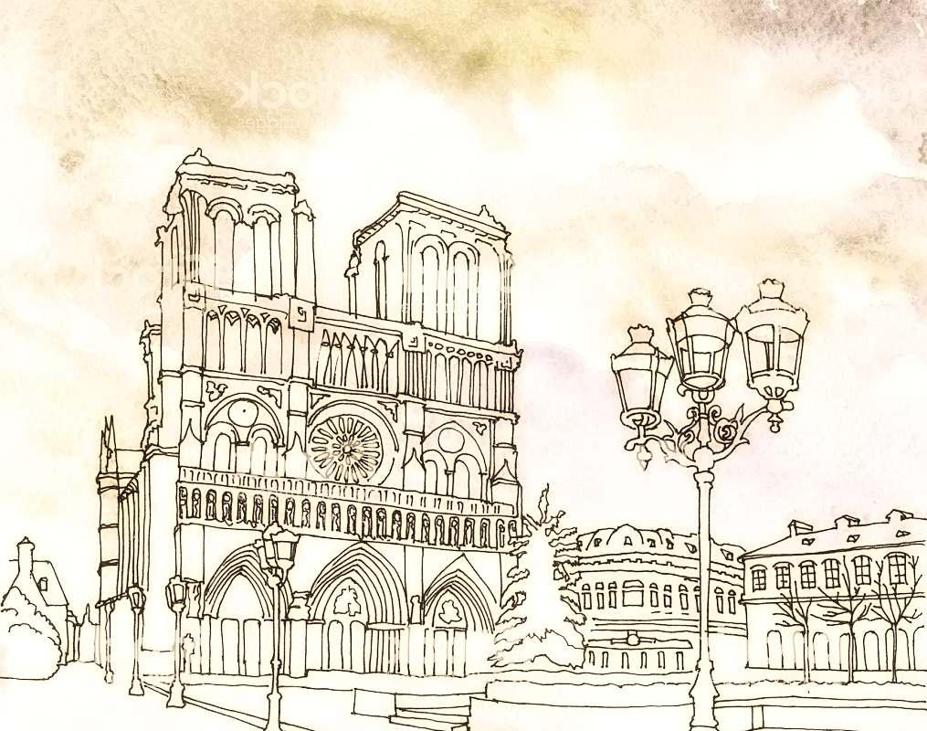 Рисунок НотрДам де Париж Франция